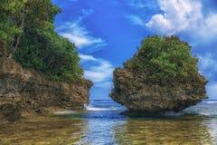Console bonito Vista da praia tropical agradável com palmas e pedras ao redor Conceito do feriado e das férias Tropical e foto de stock royalty free