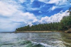Console bonito Vista da praia tropical agradável com palmas e pedras ao redor Conceito do feriado e das férias Tropical e imagens de stock royalty free