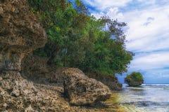 Console bonito Vista da praia tropical agradável com palmas e pedras ao redor Conceito do feriado e das férias Tropical e foto de stock
