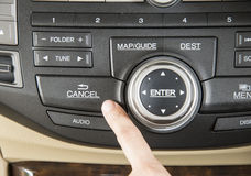 Console in car. Press the button cancel console in car Stock Image