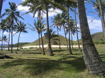 Console de Easter - praia de Anakena imagem de stock royalty free