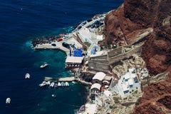 Console de Santorini em Greece Vista panorâmico Destino do turista verão fotografia de stock