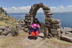 Console de Taquile, lago Titicaca, Peru imagem de stock royalty free