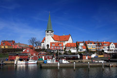 Console Dinamarca de Roenne Bornholm do porto Fotografia de Stock Royalty Free