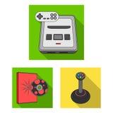Console do jogo e ícones lisos da realidade virtual na coleção do grupo para o projeto Web do estoque do símbolo do vetor dos dis Foto de Stock Royalty Free