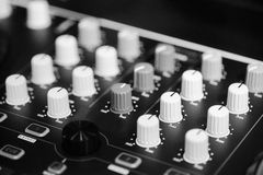 Console operator sound. Audio operator console with amplifier and mixer Royalty Free Stock Photo