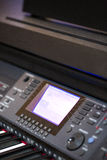 Console operator sound. Audio operator console with amplifier and mixer Royalty Free Stock Image