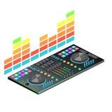 Console plate isométrique du DJ d'isolement par 3D Photo libre de droits