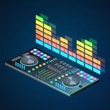 Console plate isométrique du DJ d'isolement par 3D Image libre de droits