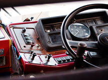Console. Real old retro style vintage dash board console display of an old but not on duty truck in THAILAND Royalty Free Stock Photo