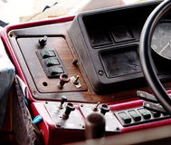 Console. Real old retro style vintage dash board console display of an old but not on duty truck in THAILAND Stock Images