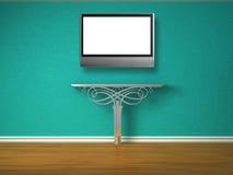 Console-table métallique avec l'affichage à cristaux liquides TV Image libre de droits