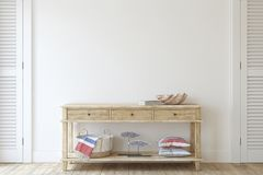 Free Console Table Near Empty White Wall. 3d Render Royalty Free Stock Image - 155435886