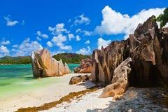 Console tropical Curieuse em Seychelles Fotografia de Stock Royalty Free