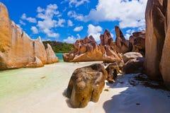 Console tropical Curieuse em Seychelles Fotografia de Stock