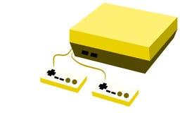 Console volumétrique rectangulaire de jeu d'antiquité de vintage de rétro hippie d'or avec deux joies et boutons sur un fond blan illustration stock