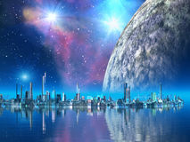 Consoles do cobalto - cidades do futuro ilustração stock