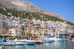 Consoles gregos Kalymnos porto O melhor destino do turista no Mar Egeu fotos de stock