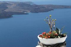 Consoles gregos - opinião Santorini do Caldera Imagem de Stock