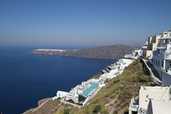 Consoles gregos - vista de Santorini (Fira) Fotos de Stock Royalty Free