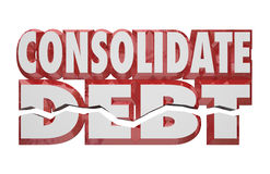 Consolidate Debt 3d Words Reduce Money Obligations Bills Owed. Consolidate Debt 3d Words to illustrate help or assistance in combining your financial obligations Royalty Free Stock Photos