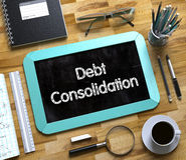 Consolidation de dette - texte sur le petit tableau 3d Images libres de droits