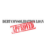 Consolidation Word Stamp. Debt consolidation loan text with approved stamped across it Stock Photography