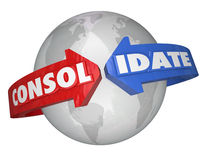 Consolidez la consolidation internationale T global de groupes d'affaires Photos libres de droits