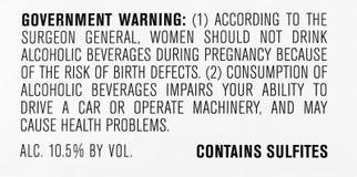 Consommateur de avertissement de sulfites de vin d'alcool de gouvernement images stock
