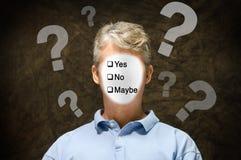 Consommateur de interrogation incertain d'électeur d'homme photo stock