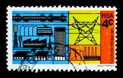 Consommateurs de l'électricité et producteur, cinquantième anniversaire de serie d'ESCOM, vers 1973 Image libre de droits
