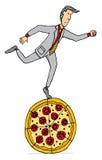 Consommation au bureau/au déjeuner de pizza Illustration Libre de Droits