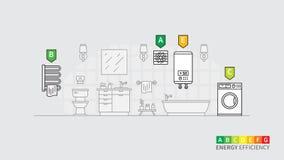 Consommation d'énergie des dispositifs électriques pour l'illustration de vecteur de salle de bains photographie stock libre de droits