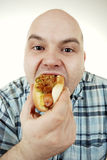Consommation d'un hot-dog Image libre de droits