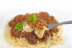 Consommation de spaghetti Images libres de droits