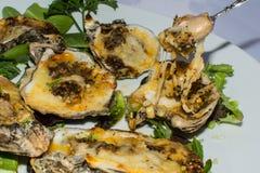 Consommation des huîtres de Cajun sur la demi coquille Photographie stock