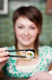 Consommation des sushi Photo stock