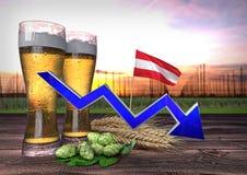Consommation en baisse de bière en Autriche 3d rendent Images libres de droits