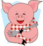 Consommation heureuse de porc Images libres de droits