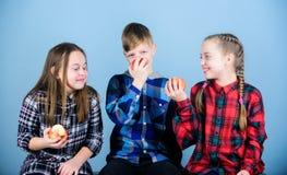 Consommation organique pendant une vie plus fraîche et plus saine Les petits enfants ont plaisir à manger des fruits organiques n photographie stock libre de droits