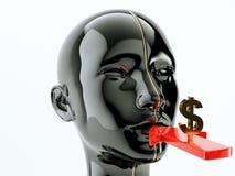 Consommation ou flèche et symbole dollar de consommationisme près de la bouche illustration de vecteur