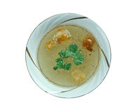 Consomme. Beef Consomme - clear soup made from richly flavored stock or bouillon Royalty Free Stock Images