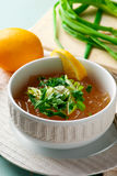 Consomme broth, traditional French broth. Selective focus Stock Photography