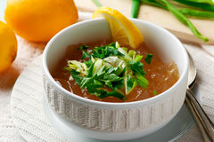 Consomme broth, traditional French broth. Selective focus Stock Image