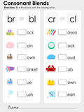 Consonant Blends : missing letter - Worksheet for education. Consonant Blends : fill in the blank with the missing letter - Worksheet for education Stock Image