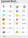 Consonant Blends : missing letter - Worksheet for education Stock Photo