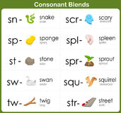 Consonant Blends Worksheet for kids Royalty Free Stock Image