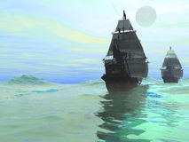 Consort. Sister ships sail together on gleaming seas Royalty Free Stock Images