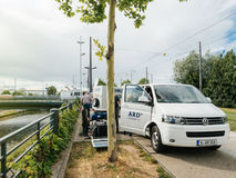 Consortium of public broadcasters in Germany ARD truck at live e Stock Image