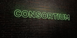 CONSORTIUM -Realistic Neon Sign on Brick Wall background - 3D rendered royalty free stock image Royalty Free Stock Image